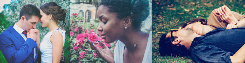 Photos: Coouples in love, a woman smelling a flower.